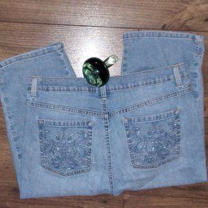 size 12 petite blue capris denim jeans womens